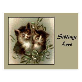 Vintage Sibling Love Postcard