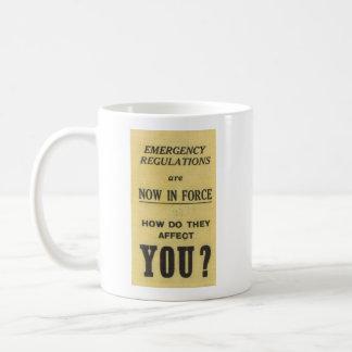 Vintage Sign: Emergency Regulations Now In Force Coffee Mug