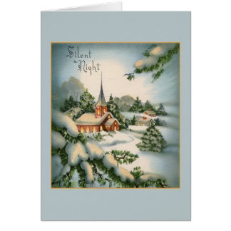 Vintage Silent Night Christmas Greeting Card