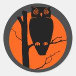 Vintage Silouhette Owl Orange Moon Round Stickers