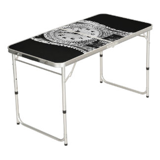 Vintage Silver Clock Beer Pong Table