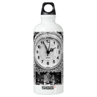 Vintage Silver Clock Water Bottle