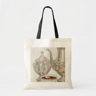 Vintage Silver Coffee Service Canvas Bag