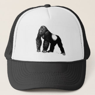 Vintage Silverback Gorilla Illustration, Black Trucker Hat