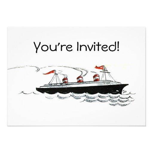 Vintage Simple Ship Illustration Personalized Announcement