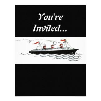 Vintage Simple Ship Illustration Announcements