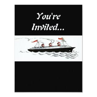 Vintage Simple Ship Illustration 4.25x5.5 Paper Invitation Card