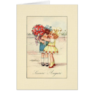Vintage Sinceri Auguri Italian Birthday Card