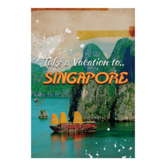 Vintage Singapore Vacation Poster. Poster