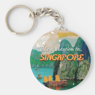 Vintage Singapore Vacation Poster. Basic Round Button Key Ring