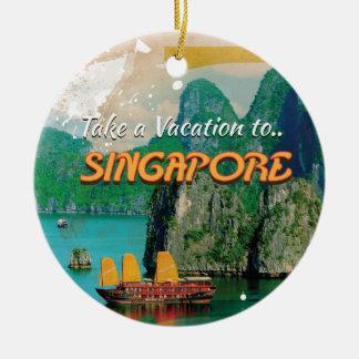 Vintage Singapore Vacation Poster. Ceramic Ornament
