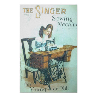 Vintage Singer Sewing Machine Poster