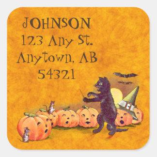 Vintage Singing Black Cat Halloween Address Label