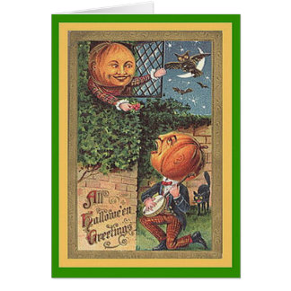 Vintage Singing Pumpkin Man Card
