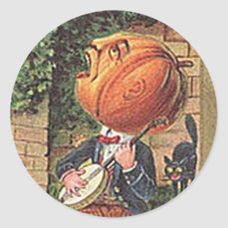 Vintage Singing Pumpkin Man Classic Round Sticker