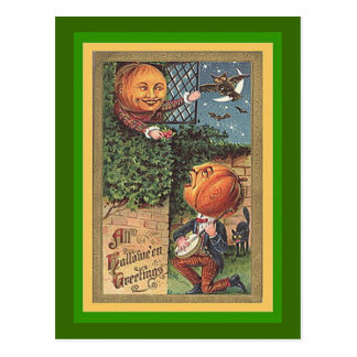 Vintage Singing Pumpkin Man Postcard