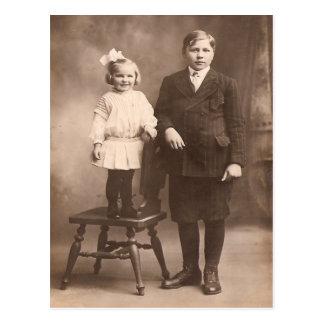 Vintage Sister & Brother Postcard