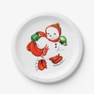 Vintage Skating Snowman 7 Inch Paper Plate