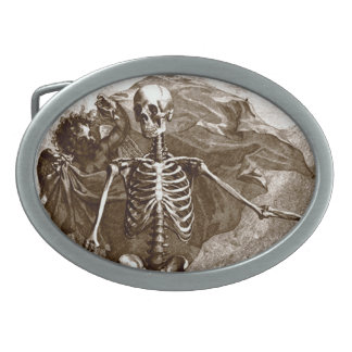 Vintage Skeleton and Cherub Belt Buckle
