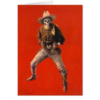 Vintage Skeleton Halloween Cowboy Greetings Card