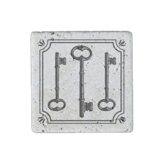 Vintage Skeleton Key Stone Magnet