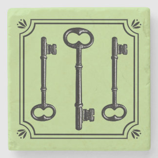 Vintage Skeleton Keys Stone Coaster