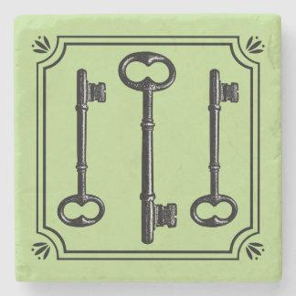 Vintage Skeleton Keys Stone Coaster