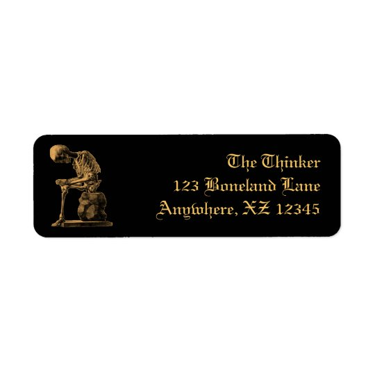 Vintage Skeleton Thinker Return Address Label