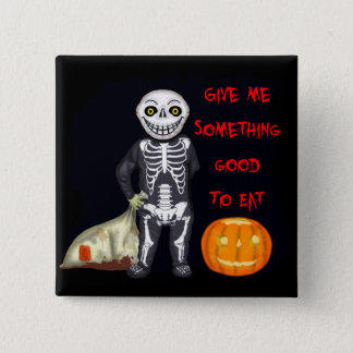 Vintage Skeleton Trick or Treater 15 Cm Square Badge