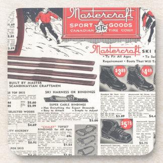 Vintage ski advertisement winter sports goods beverage coaster