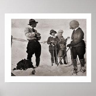 Vintage ski image, Great ski wear Poster