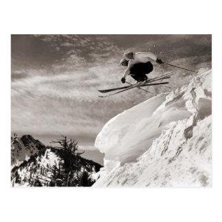 Vintage ski  image,  Jumping together Postcard