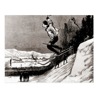 Vintage ski  image, jumping towards the finish postcard