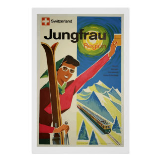 Vintage Ski Jungfrau Switzerland Travel Poster Art