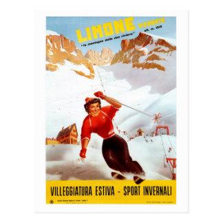 Vintage ski Limone Piemonte Italian travel poster Postcard