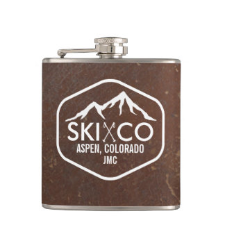 Vintage Ski Mountain Aspen CO Monogram Leather Hip Flask