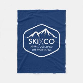 Vintage Ski Mountain, Aspen CO, retro ski poles Fleece Blanket