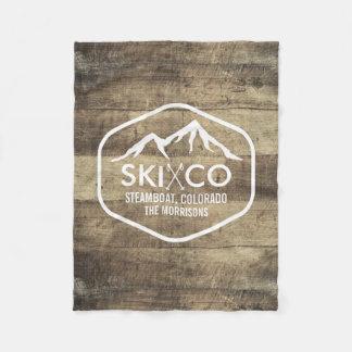 Vintage Ski Mountain Colorado Rustic Wood Fleece Blanket