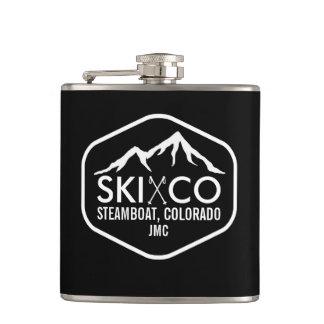 Vintage Ski Mountain Steamboat Colorado Monogram Hip Flask
