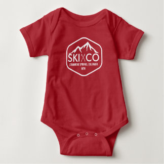 Vintage Ski Mountain Steamboat Springs Colorado Baby Bodysuit
