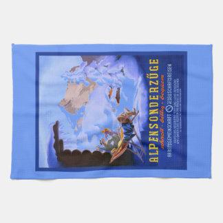 Vintage Ski poster, Alpensonderzuge, Germany Tea Towel