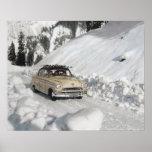 Vintage ski poster, Car to the piste