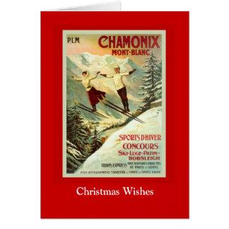 Vintage Ski Poster, Chamonix, Mont Blanc Card