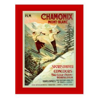 Vintage Ski Poster, Chamonix, Mt Blanc Postcard