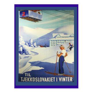 Vintage Ski Poster, Czeuchoslavakia in winter Postcard