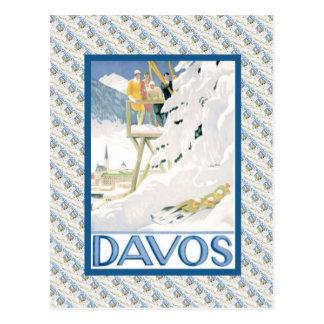 Vintage Ski Poster, Davos, Switzerland Postcard