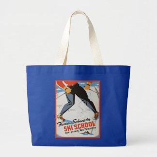 Vintage ski poster,  Hannes Scneider Ski School Jumbo Tote Bag