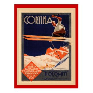 Vintage Ski Poster, Italy, Dolomites Cortina Postcard