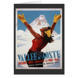 Vintage Ski Poster,  Italy, Val d'Aosta Card