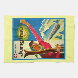 Vintage ski poster, Jungfrau region, Switzerland Tea Towel